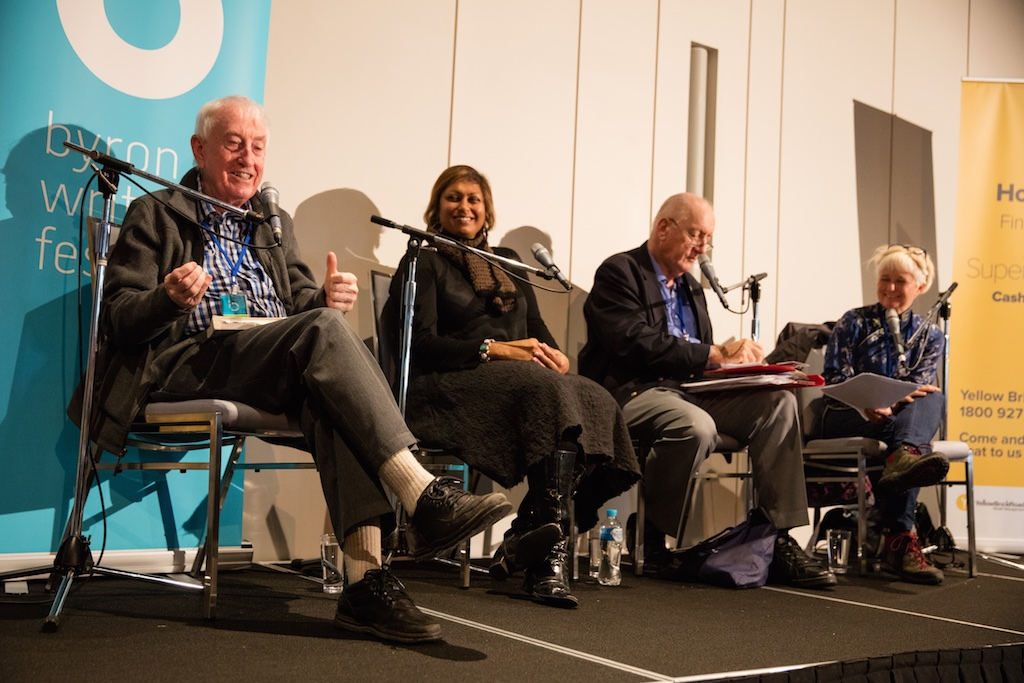 Peter Doherty encourages us all to take action on Food Security with Indira Naidoo, Time Fischer and Ashley Hay -pic Evan Malcolm