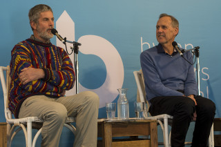 Paul Thomas and Bob Brown talk about their Green Nomads book. Photo: SCU / Natalie Foord