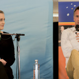 Madeline Gleeson and Jock Serong discuss offshore detention. Pic: Natalie Foord